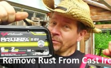 remove rust from cast iron pots and pans with battery charger